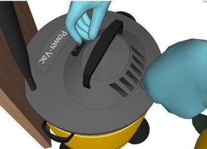 Включите промышленный пылесос
