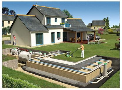 Рис.6 Пластиковый септик для дома и его использование вместе с аэробным полем