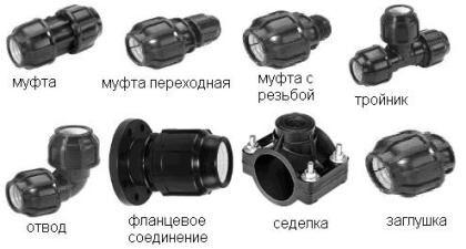 Соединительные детали для монтажа полиэтиленовых труб