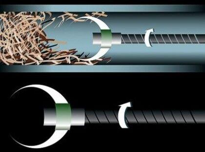 Что происходит внутри трубы при устранении засора тросом