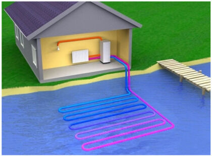 Система с расположением труб в водоеме