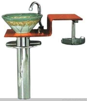 Раковина с пьедесталом, материал - закаленное стекло, сталь