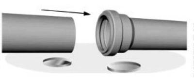 Монтаж трубы НПВХ с раструбом
