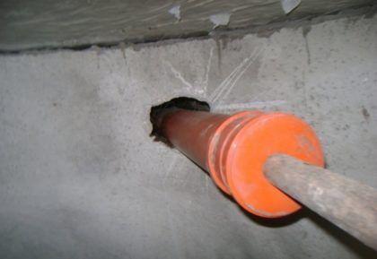 Подключение канализационной трубы (вид изнутри)