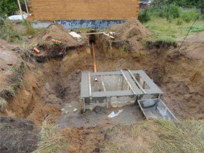 Септик бетонный монолитный двухкамерный