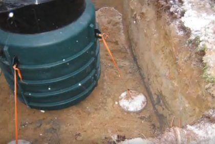 Септик надежно закреплен на несколько железобетонных якорей – всплытие под давлением влажного грунта весной ему не угрожает!