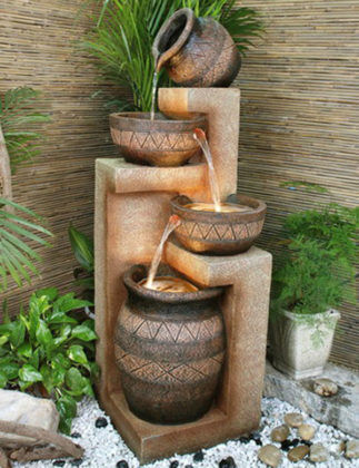 Фонтан-водопад из керамических чаш