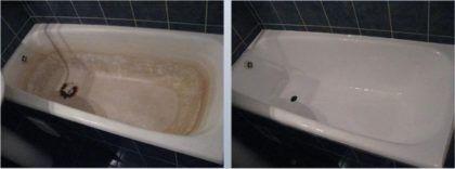 Чугунная ванна до и после реставрации