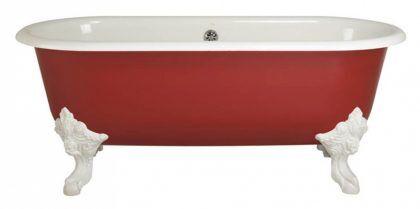 В некоторых случаях внешний вид ванны из чугуна можно улучшить покраской и применением фигурных ножек с лепниной