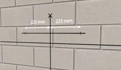 На верхней горизонтальной линии поставьте отметки так, как это показано на изображении