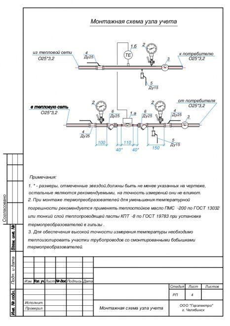 Пример схемы, по которой в дальнейшем будет осуществлена установка счетчика отопления