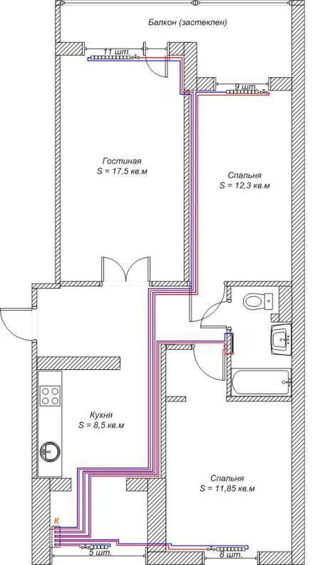 План автономного отопления в трехкомнатной квартире с параллельной разводкой труб под полом. Можно заметить, что указано точное количество секций каждого радиатора внутри жилья