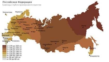 Глубина промерзания грунтов в регионах  России