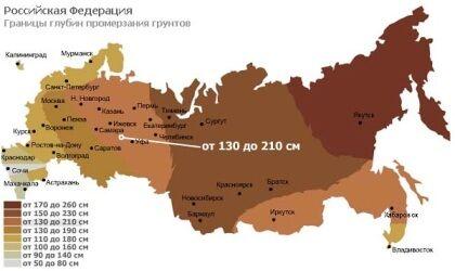 Границы глубин промерзания грунта для России