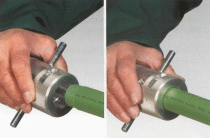 если слой алюминия находится близко к поверхности, то есть непосредственно под декоративным слоем пластика, то при подготовке к пайке армирующий слой удаляют с концов трубы шейвером (зачистным приспособлением), дабы обеспечить надлежащее прочное соединение