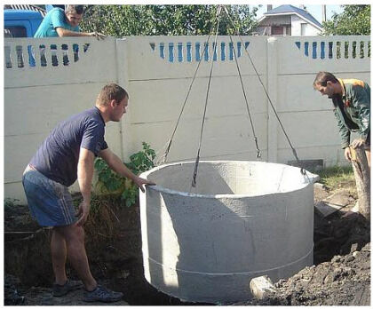 Опускаем бетонное кольцо в котлован