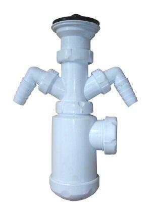 Сифон бутылочного типа с отводами для подключения стиральной и посудомоечной машины