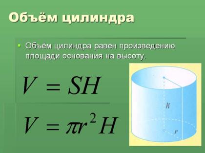 Расчет объема цилиндра