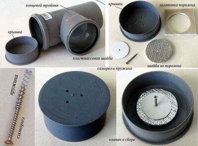 Простейший клапан вентиляции канализации в частном доме