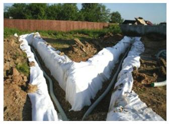Дренажные канавы с геотекстилем