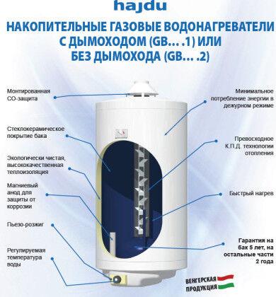 Газовый накопительный водонагреватель hajdu GB120.2 без дымохода