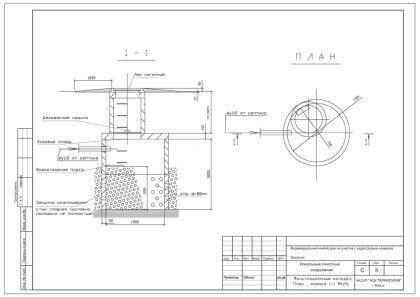 Фильтрационный колодец. План, разрез 1-1. М 1:25