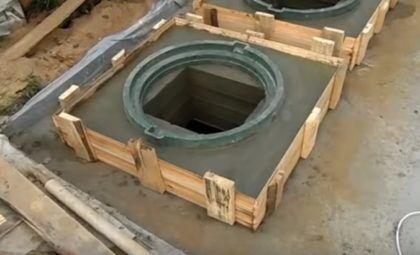 Армированная решетка залита бетоном