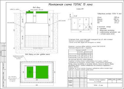 Схема монтажа септика «Топас 15 Лонг»
