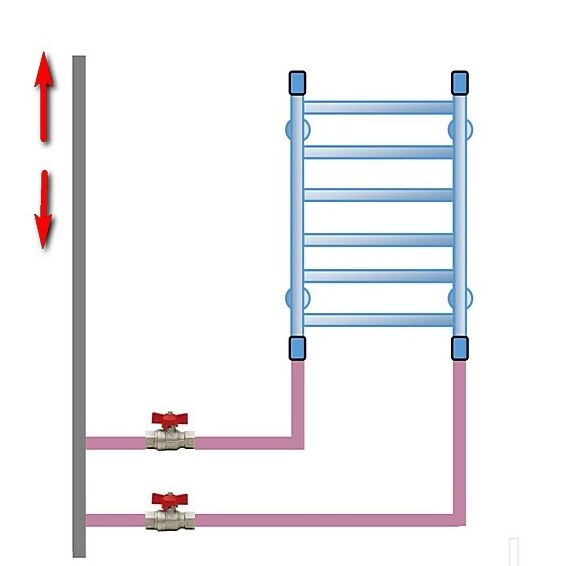 Схема подключения сушки с нижним подводом