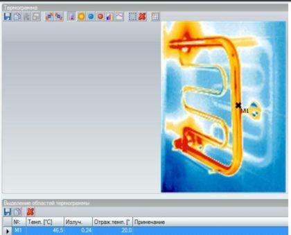 Термограмма, иллюстрирующая температуру воды внутри полотенцесушителя при прямом байпасе с диаметром, равным таковому у стояка