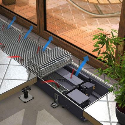 Внутрипольный конвектор с тангенциальным вентилятором