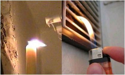 Проверить тягу можно также с помощью свечи или зажигалки