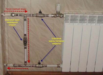 Радиатор с байпасом и запорной арматурой