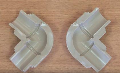 Разрез, показывающий пример качественной пайки полипропиленовых труб