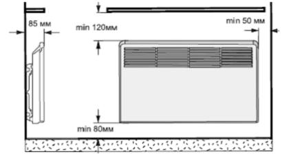 Установка настенного электрического конвектора