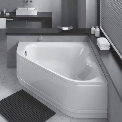 Угловая ванна из качественной и достаточно толстой стали – хороший вариант для переделки типового санузла в новое и совершенно уникальное помещение