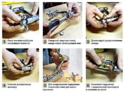 На схеме подробно показано, как правильно заменить керамическую прокладку в традиционном двухвентильном смесителе. Понадобится крестовая отвертка и гаечный ключ
